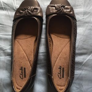 Clarks Copper Brown Flats 8.5